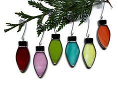 Stained Glass Christmas Lights - Set of Six Ornaments Suncatchers Window Decoration