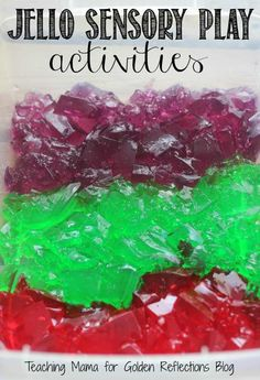 Jello sensory play for kids, part of the A-Z's of Sensory Play for Kids series.
