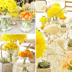 cute centerpieces - love the lace wrapped mason jars