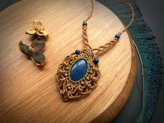 ON SALE * Macrame necklace with Lapis Lazuli. Bohemian Jewelry. Handcrafted Natural Beauty. Boho chic. Gemstone jewelry. Unique design.