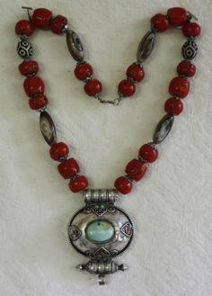 Vintage Tibetan Silver Gau w turquoise coral necklace