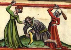 """GKS 80 2º, """"The Mirror of Human Salvation"""". Germany, 1400-50  original image here: http://www.kb.dk/permalink/2006/manus/219/eng/42+recto/?var=1  Two women beating a man. In nice dresses. Also, his hose are two different colors."""