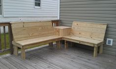 Custom deck benches complete with a small side table.