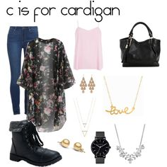 c is for cardigan by berkeleyscout on Polyvore featuring polyvore, fashion, style, Dorothy Perkins, Paige Denim, Aéropostale, Irene Neuwirth, The Horse, Givenchy, Minnie Grace, black and cardigan