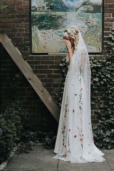 Bridal Veil- Dayflower veil- f Wedding Dress Mermaid Lace, Sequin Wedding, Wedding Veils, Boho Wedding, Dream Wedding, Hair Wedding, Bridal Headpieces, Floral Wedding Gown, Bridal Hair