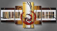 5 panel canvas painting _ Red Swirl At Center