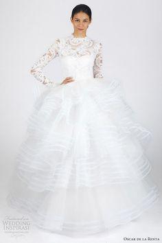 oscar de la renta #bridal fall 2013 long sleeve ball #gown #wedding #dress
