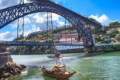 Picture of Oporto or Porto city skyline, Douro river, traditional boats and Dom Luis or Luiz iron bridge Portugal, Europe stock photo, images and stock photography. Visit Portugal, Douro Portugal, Portugal Travel, Portugal Trip, Porto City, Destinations, Photos Du, Exterior, Places To Go