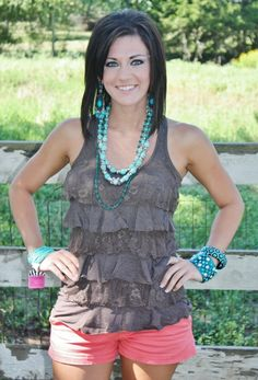 Summertime, And The Livin Is Easy Brown Ruffle Top  $13.95  http://www.giddyupglamouronline.com/catalog.php?item=5609