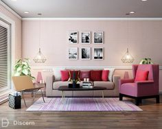The Rose Quartz is a strikingyet gentle huethat conveys compassion and a sense of composure.  Read more about desert inspired interiors on our blog!  #rozequartz #pink #livingroom #interiors #discernliving