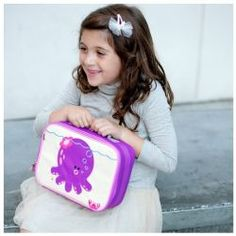 Penelope the Octopus Coated Canvas Lunchbox by #BeatrixNY - Beatrix New York's octopus lunch box is a playful way to keep tuna sandwiches and carrot sticks fresh at school. Made with heavy-duty nylon and machine washable for kid-proof durability and easy cleaning. These boxes also make wonderful travel toiletry bags and toy cases. Back side has a name tag and a zipped pocket. Tested PVC Free, phthalate free, lead free & BPA free.