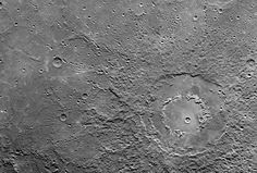 Double Ring Crater - Date: 14 Jan 2008 MESSENGER's Narrow Angle Camera (NAC) on the Mercury Dual Imaging System (MDIS) during the spacecraft's flyby of Mercury on 14 January 2008. The scene is part of a mosaic that covers a portion of the hemisphere not viewed by Mariner 10 during any of its three flybys (1974-1975). The surface of Mercury is revealed at a resolution of about 250 m/pixel (about 820 feet/pixel).
