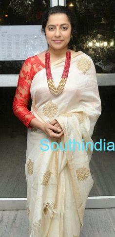 Suhasini Kerala Saree, Indian Sarees, Silk Sarees, Saris, Saree Blouse Patterns, Saree Blouse Designs, Indian Attire, Indian Wear, Indian Dresses