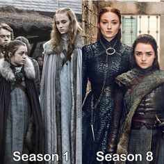 Arya and Sansa! Game Of Thrones Facts, Game Of Thrones Costumes, Got Game Of Thrones, Game Of Thrones Quotes, Game Of Thrones Funny, Game Costumes, James Mcavoy, Michael Fassbender, Nick Jonas