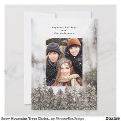 Shop Snow Mountains Trees Christmas Holiday Photo Card created by PhrosneRasDesign. Holiday Photo Cards, Holiday Photos, Christmas Cards, Snow Holidays, Happy Holidays, Snow Mountain, Holiday Festival, Stationery, Merry