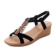 Mujer Zapatos PU Verano Confort Sandalias Tacón Cuña Dedo redondo Pedrería Negro / Verde / Borgoña / Tacones de cuña N5goBJVc