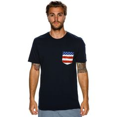 """Rip Curl STaple Custom SS Pocket Tee.     Men's short sleeve tee.     Regular fit.     Crew neckline.     Contrast patch pocket to chest.     Woven logo label.     100% cotton.      Imported.     Vendor Style #: CTEOZ7.        Size & Fit Guide      Model is wearing a Size: Medium     Model's height: 6'1""""    Shirt: 15 inches     Waist: 31 inches    Inseam: 26 inches"""