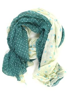teal on the dot crinkle scarf.