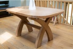 Country oak cross leg oval end dining table - 140cm