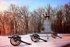 The Virginia Monument in Winter.