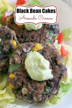 Black Bean Cakes and Avocado Cream. Easy recipe with tips to customize - it will become a favorite vegetarian or vegan burger! Black Bean Cakes and Avocado Cream. Easy recipe with tips to customize - it will become a favorite vegetarian or vegan burger! Mexican Dinner Recipes, Vegetarian Recipes Dinner, Delicious Dinner Recipes, Appetizer Recipes, Vegan Recipes, Party Appetizers, Meatless Recipes, Veggie Meals, Vegetarian Options