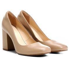 Scarpin Shoestock Bico Quadrado Salto Grosso Alto Preto | Zattini