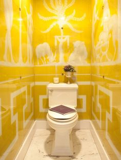 "1/2 Bath - I usually hate ""toilet"" shots but this is simply fabulous. Yellow is the perfect color for this small bathroom, and the greek key pattern is definitely a favorite of mine.."