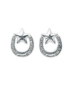 Bar V Ranch Silver Horseshoes and Star Earrings at Maverick Western Wear