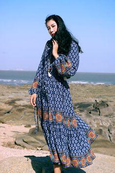 SINCE THEN V-neck Blue Floral Short Dress - BOHO INTERNAL STORE
