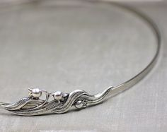 Lily headband art nouveau silver flower vintage style elegant bridesmaid wedding bridal hair