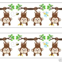 Hanging Monkey Wallpaper Wall Art Border Decals for baby boy nursery or kids room jungle decor. Adorable Monkeys hanging from branches #decampstudios