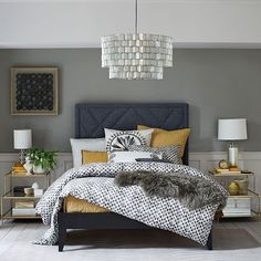 Love this bedroom...colors, lighting, bedding...sumptuous!  Terrace Side Table | West Elm
