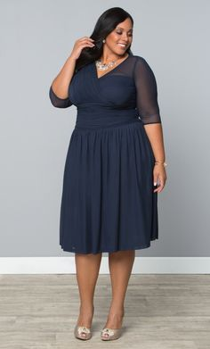 Our plus size Modern Mesh Dress is the perfect wedding cocktail dress!  www.kiyonna.com