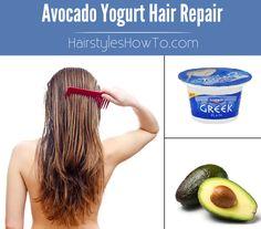 Avocado Yogurt Hair Mask - Repair & Replenish dry, brittle and damaged hair using an avocado and plain Greek yogurt.