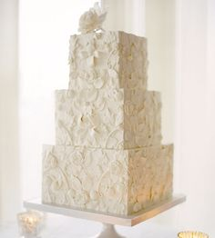 Three-Tier Square Lace Wedding Cake with Fondant Flowers Square Wedding Cakes, Square Cakes, White Wedding Cakes, Beautiful Wedding Cakes, Gorgeous Cakes, Wedding Cake Designs, Pretty Cakes, Perfect Wedding, Lace Wedding