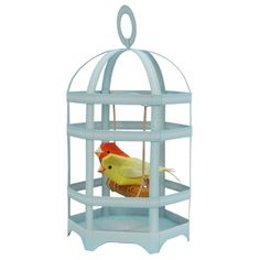printable paper model of canaries in a bird cage!