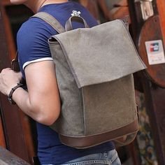 Men's Gray Canvas Shoulders Outdoor Travel Hiking Camping Student Bag Satchel #Backpack