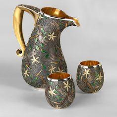 by Fred Rich Enamel Design :: Enamel Jewelry, Metal Jewelry, Jewelry Art, Jewellery, Vitreous Enamel, Ceramic Pitcher, Silver Enamel, Antique Silver, Carnival Glass