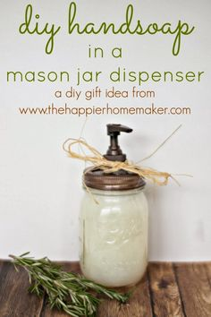 DIY Hand Soap Gift in a mason jar- great hostess gift idea Diy Gifts In A Jar, Easy Diy Gifts, Mason Jar Gifts, Homemade Gifts, Mason Jars, Homemade Beauty, Christmas Jars, Diy Christmas Gifts, Christmas Holiday