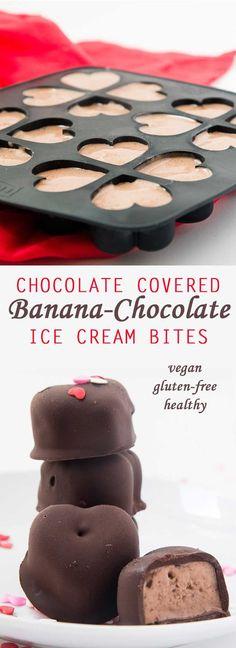 Chocolate Covered Banana-Chocolate Ice Cream Bites (Vegan) + Valentine's Day Menu