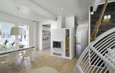 Fireplace and wood storage. Kitchen Dining, Dining Room, Color Harmony, Wood Storage, The Originals, Inspiration, Furniture, Finland, Home Decor
