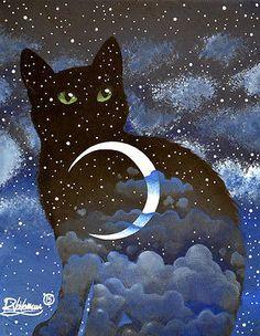 NIGHT IN CAT - Raphaël VAVASSEUR - Peinture Originale, Original Painting