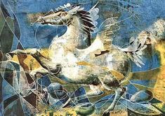 Pegasus by Hans Erni # Hans Erni (born February 21, 1909) is a Swiss painter, designer and sculptor. Born in Lucerne, he is known in particular for illustrating postage stamps, activism, lithographs for the Swiss Red Cross, and participation on the Olympic Committee. The Hans Erni Museum, situated in the grounds of the Swiss Museum of Transport in Lucerne, contains a large collection of artwork. He celebrated his 100th birthday in 2009.  http://www.hans-erni.ch/