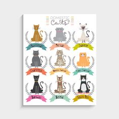 With an effortless modern style, Lucy Darling offers a high-quality cat themed art print designed as the perfect complement to a baby's nursery or for that cat loving friend! • Perfect Nursery/Home Wa