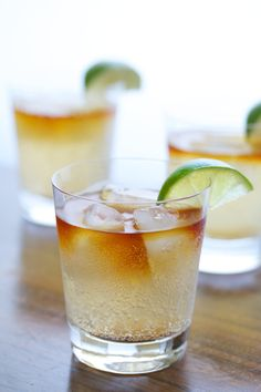 Dark and Stormy - Dark rum, ginger beer, crystallized ginger + limes