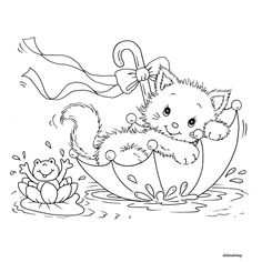 Didi coloring Page: Printable kitty cat and frog in umbrella lovely weather