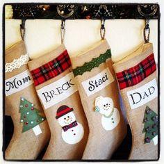 Childrens stocking Burlap stocking Christmas by LovelyLittleBabies, $38.00