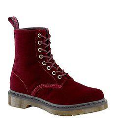 Dr Martens Womens Page Velvet Combat Boots #Dillards