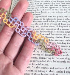 Geometric Summer garden bookmark in tatting lace - Chiara Combining geometric shapes with the elegance of a Summer garden, this creation was carefully tatted, from my own original design, in a stunning high quality multicoloured cotton thread (a lovely mix of blue, green, lilac, pink and