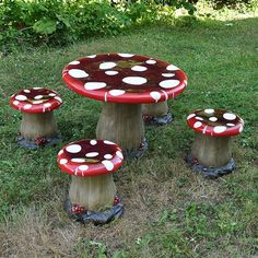 A Mushroom Toadstool Table And 4 Stools, Designed For Children To Sit On.  These Are Frost Proof, But Will Show Signs Of Weathering Over Time So May  Be Best ...
